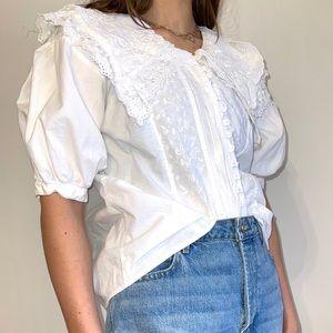 Vintage DD designs prairie eyelet lace shirt L